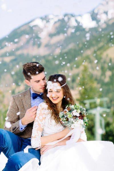 Hochzeitsfoto Winterhochzeit in den Bergen