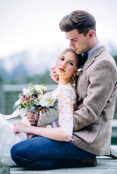 Hochzeitsfoto Brautpaar Winterhochzeit
