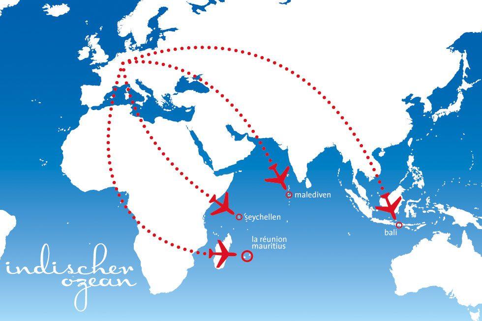 Flitterwochenziele im indischen Ozean