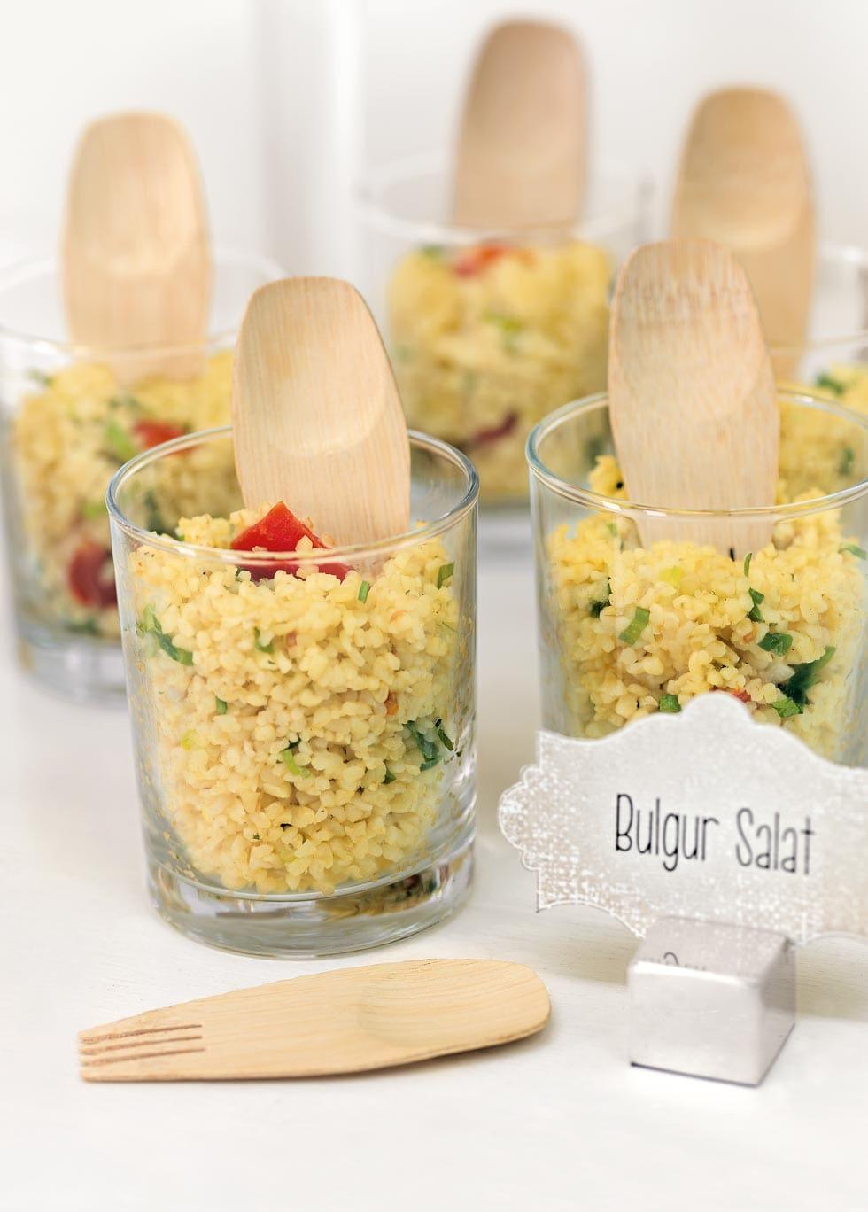 Hochzeit Snacks Bulgur Salat im Glas