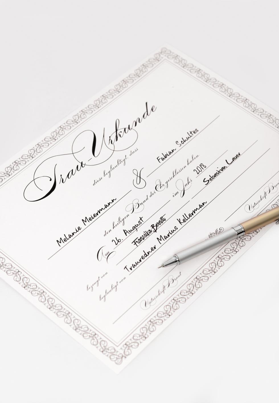 Trau-Urkunde für die freie Trauung – Hochzeit planen mit weddingstyle