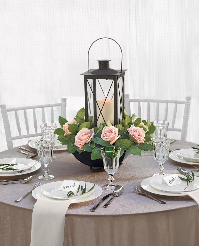 Tischdekoration romantischer Rosengarten