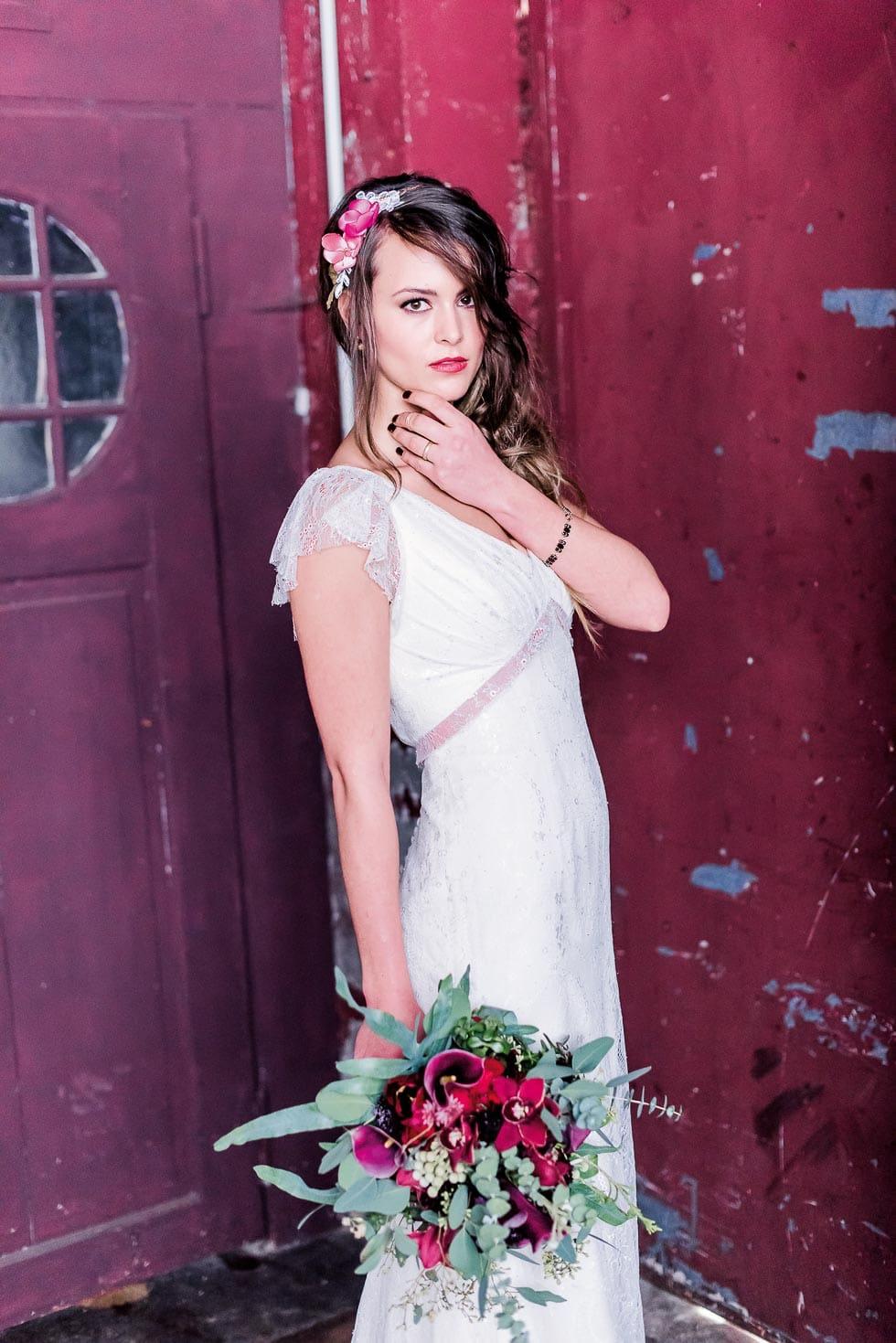 Brautstrauß Rot und Violet