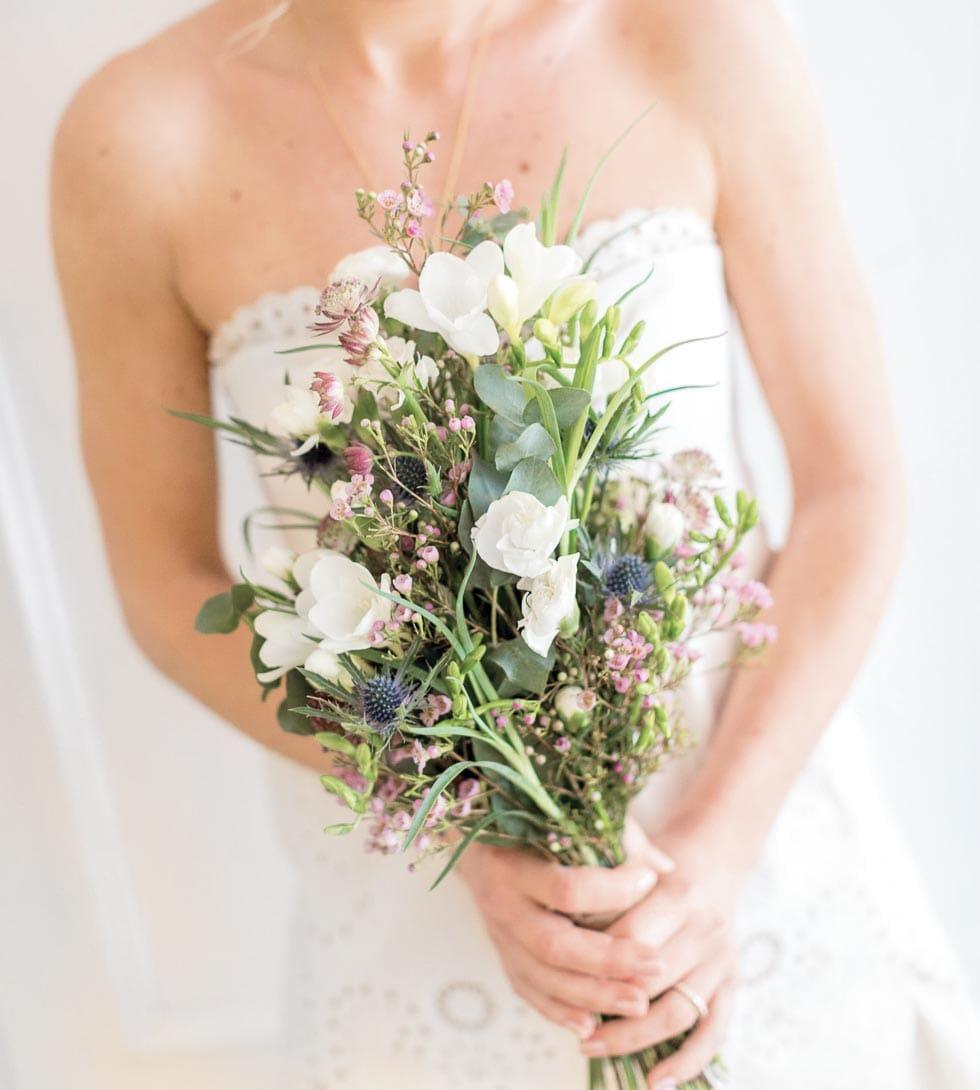 Brautstrauß Lila, Rosa und Weiß