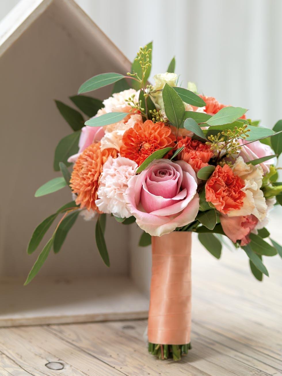 Brautstrauß Orange und Rosa