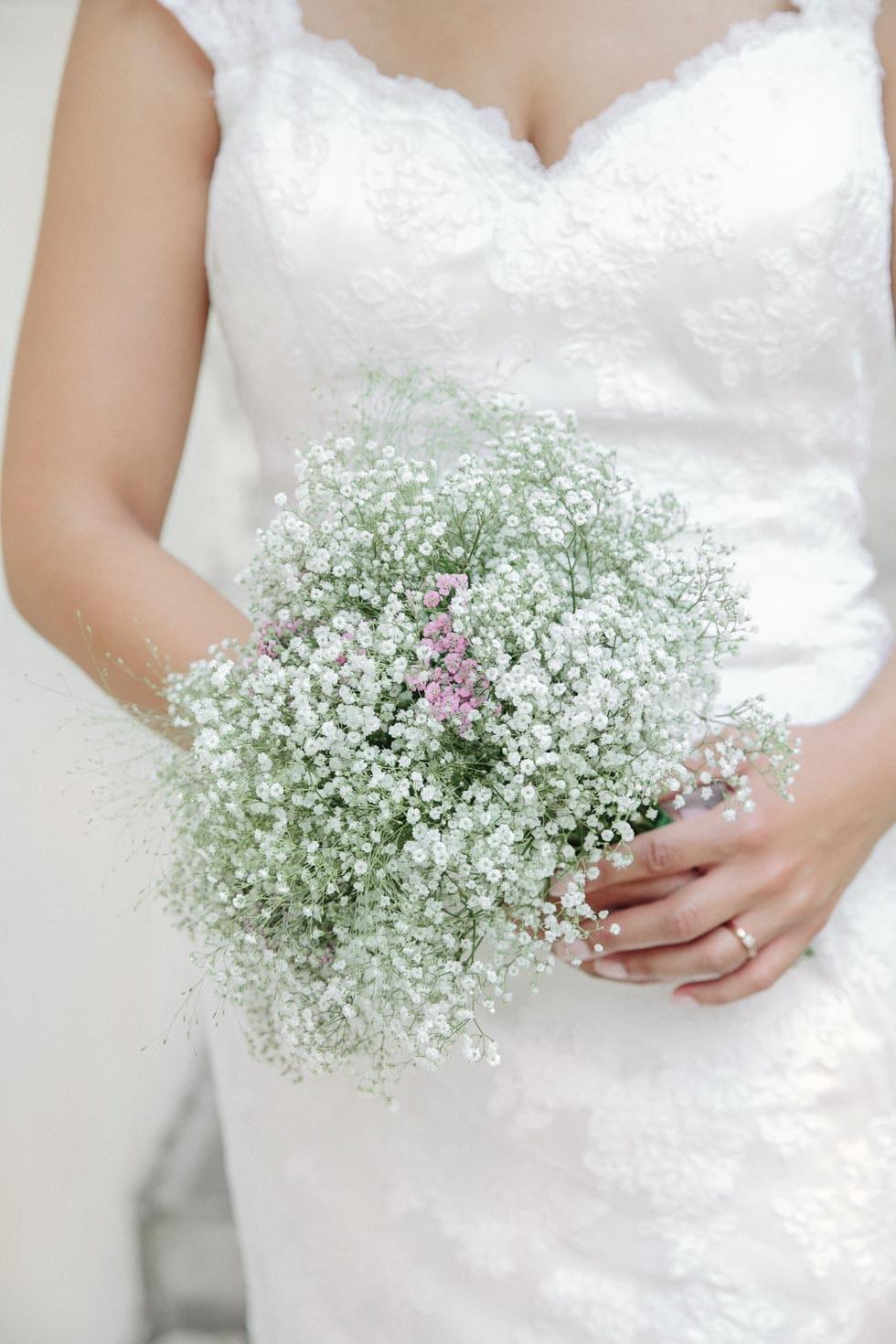 Brautstrauß Weiß und Lila