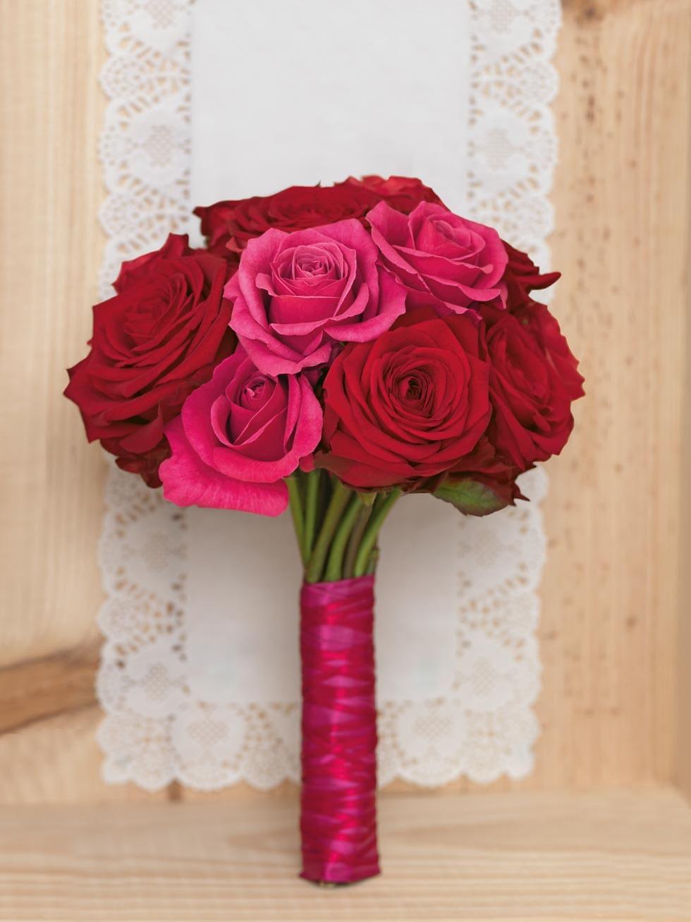 Brautstrauß Rot und Pink