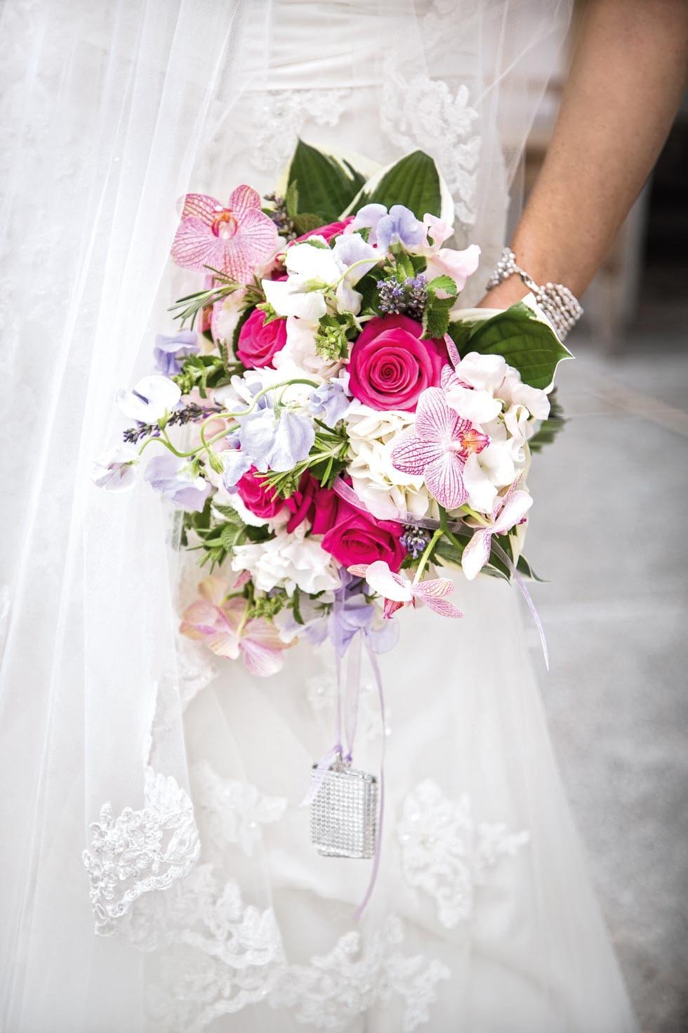 Brautstrauß Pink, Lila und Weiß