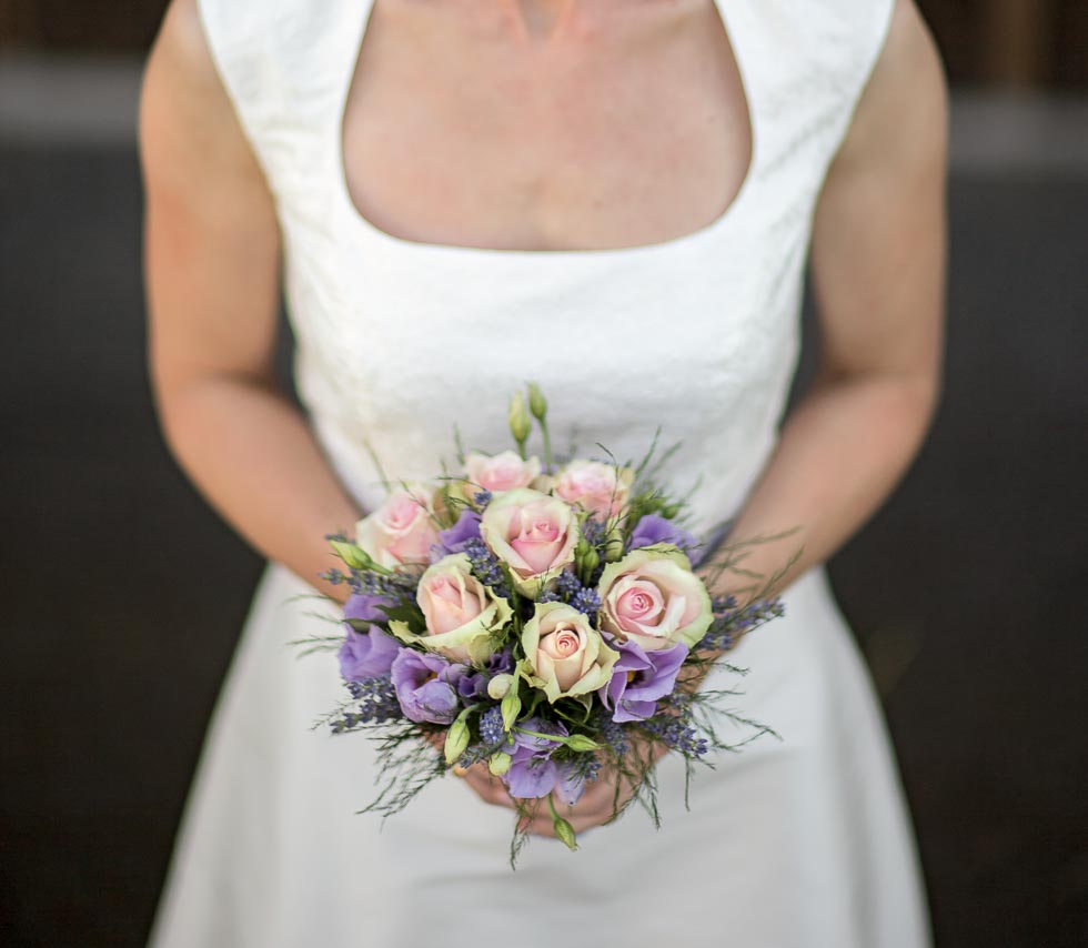 Brautstrauß Lila und Beige-Rosa
