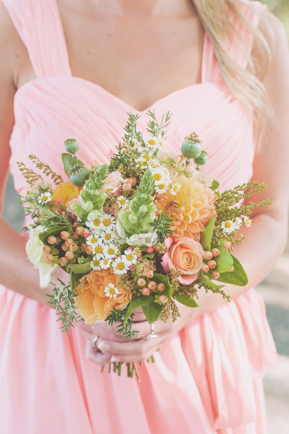 Brautstrauß Peach, Orange und Gelb