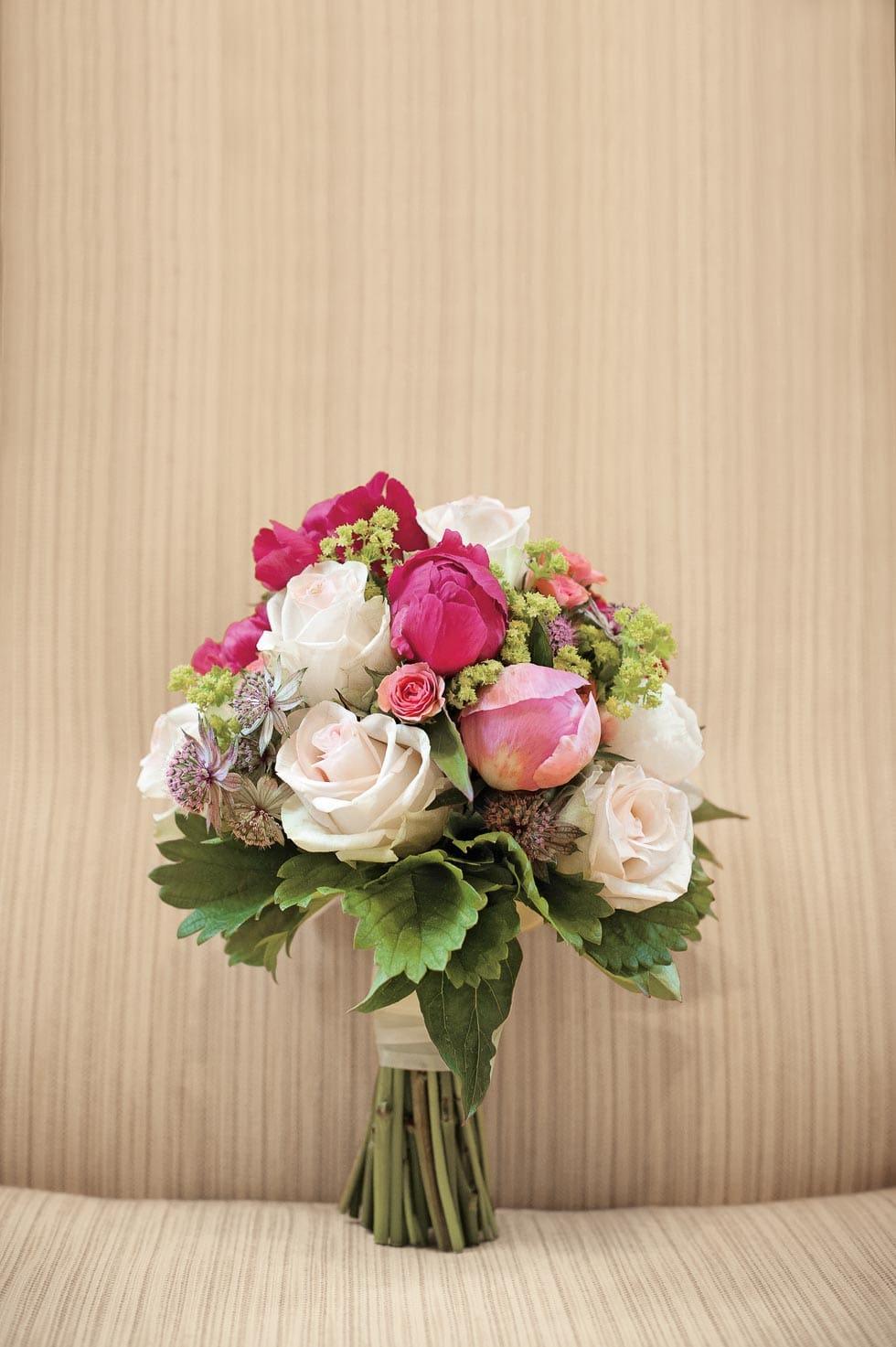 Brautstrauß Weiß und Pink