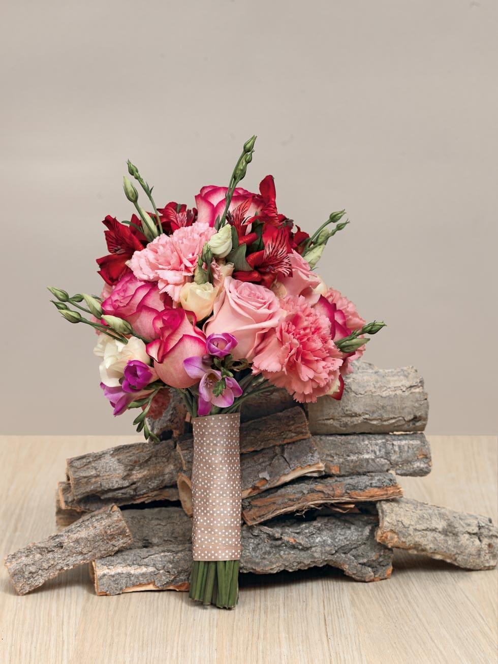 Brautstrauß Rosa und Rot