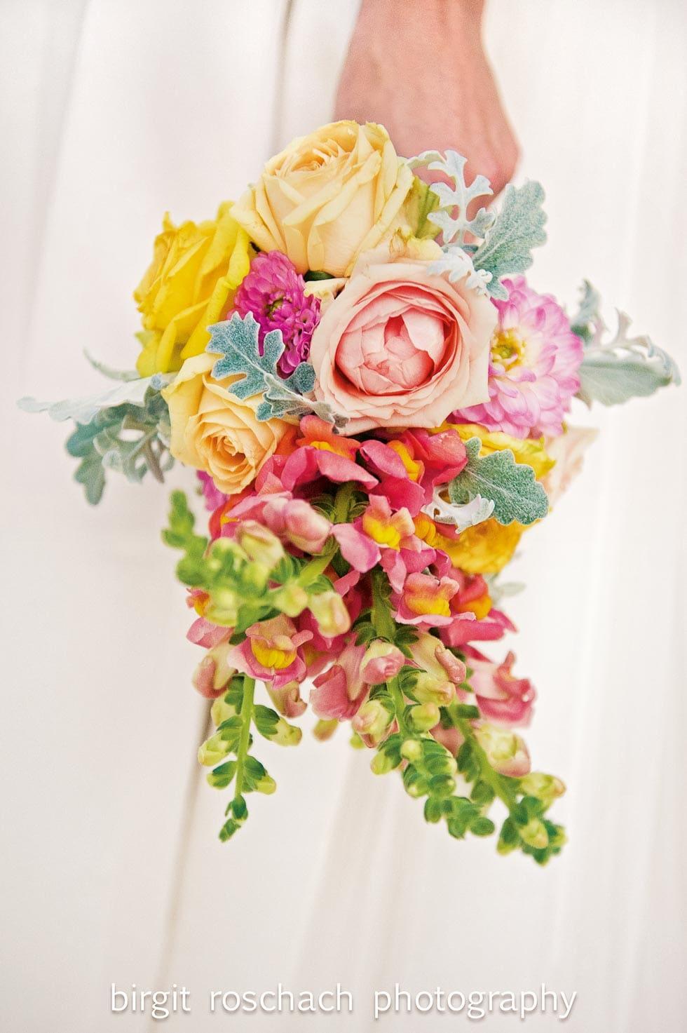 Brautstrauß Orange, Pink und Gelb
