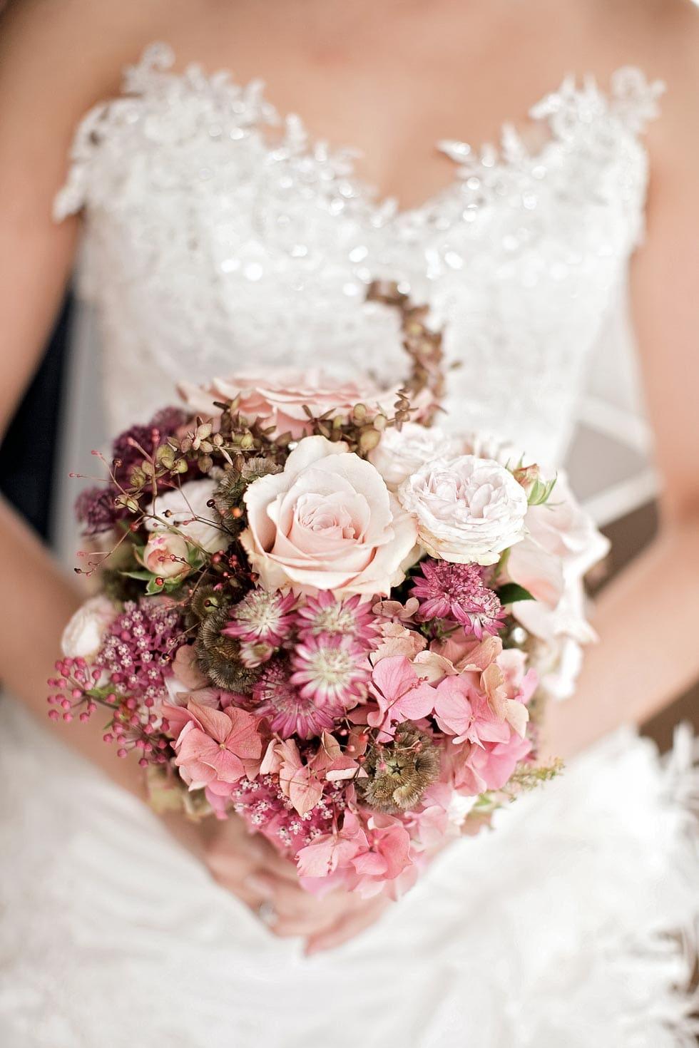 Brautstrauß Altrosa
