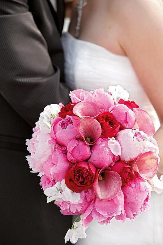 Brautstrauß Pink, Rot und Weiß