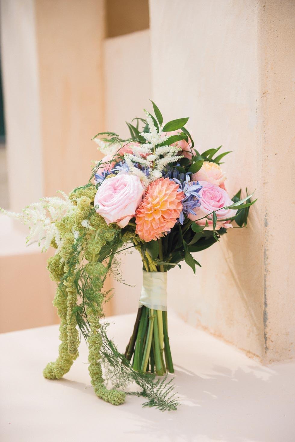 Brautstrauß Lila, Rosa und Pfirsich