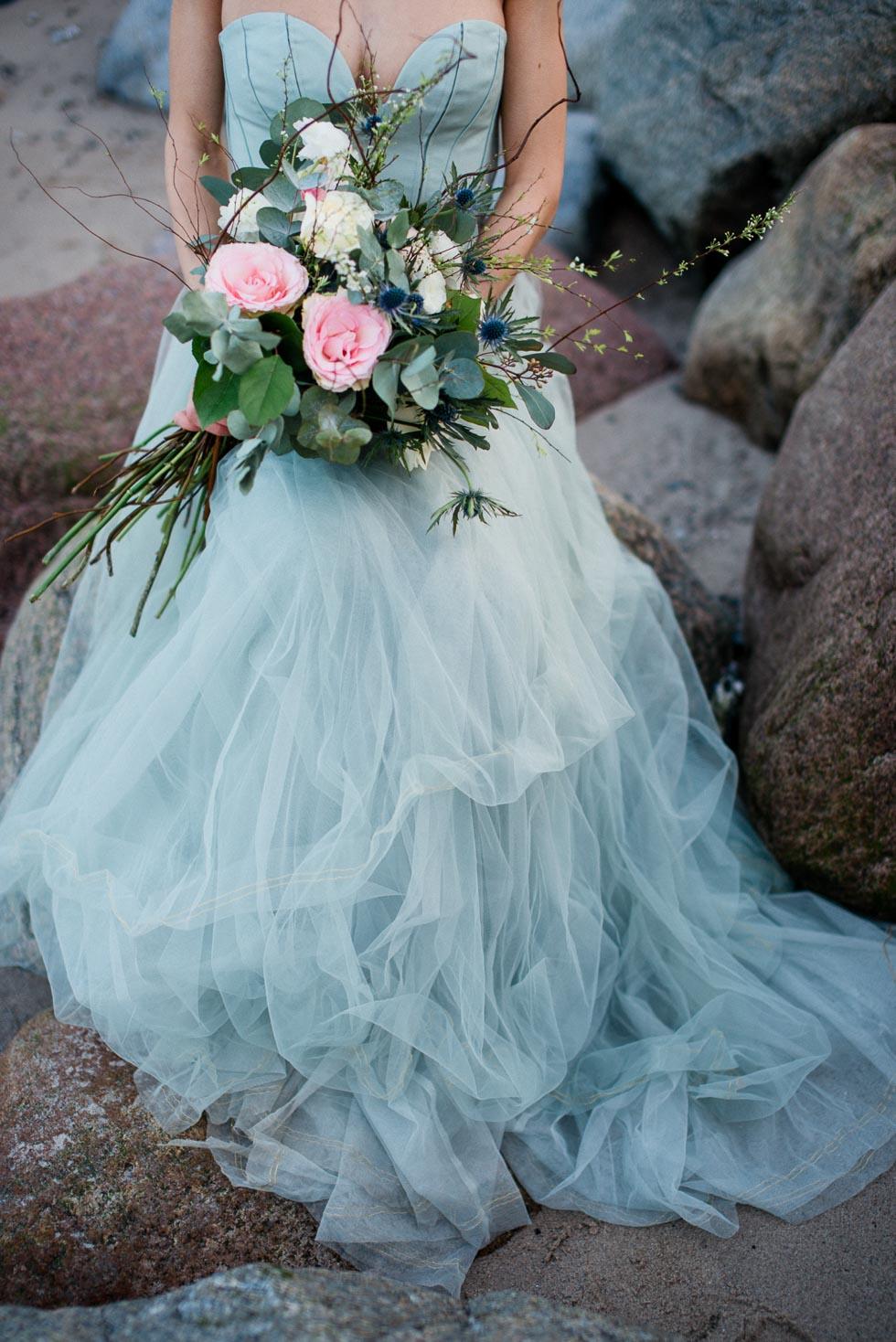 Brautstrauß Rosa, Beige und Grün