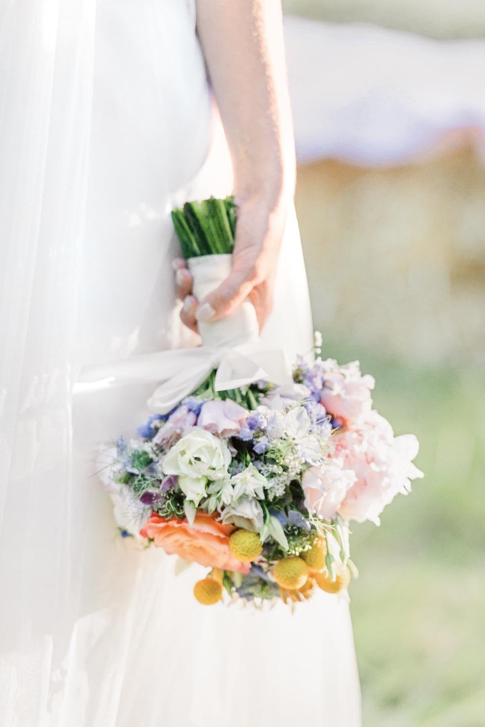 Brautstrauß Rosa, Gelb und Lila