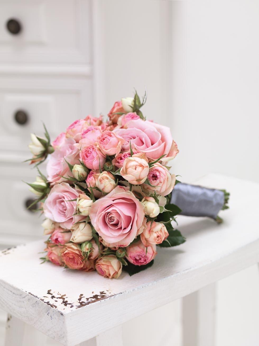 Brautstrauß Rosa und Beige