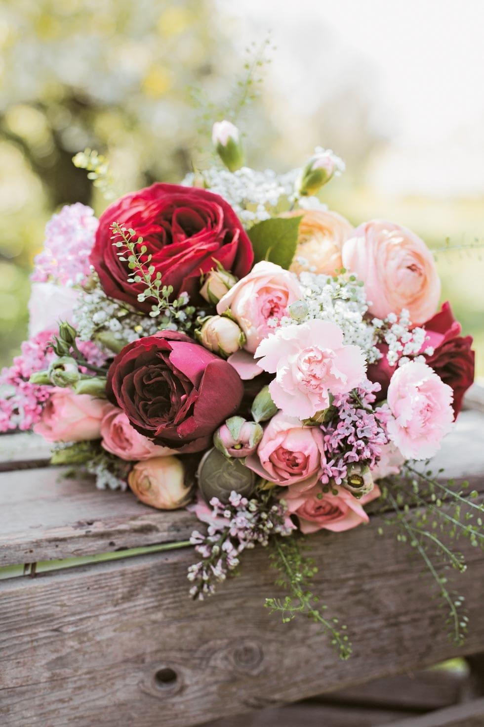 Brautstrauß Rot und Rosa