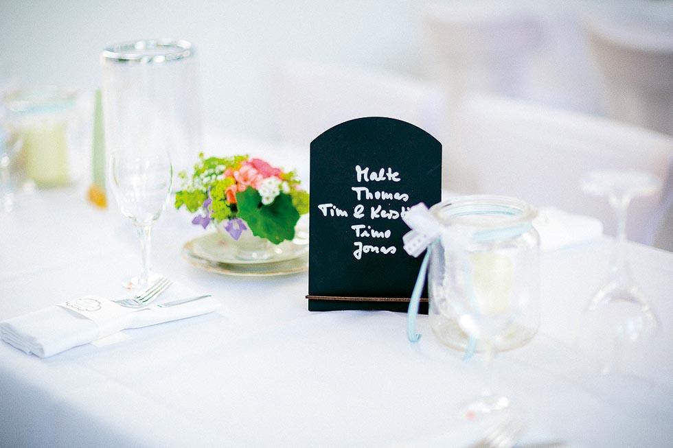 Tischplan auf Tafel