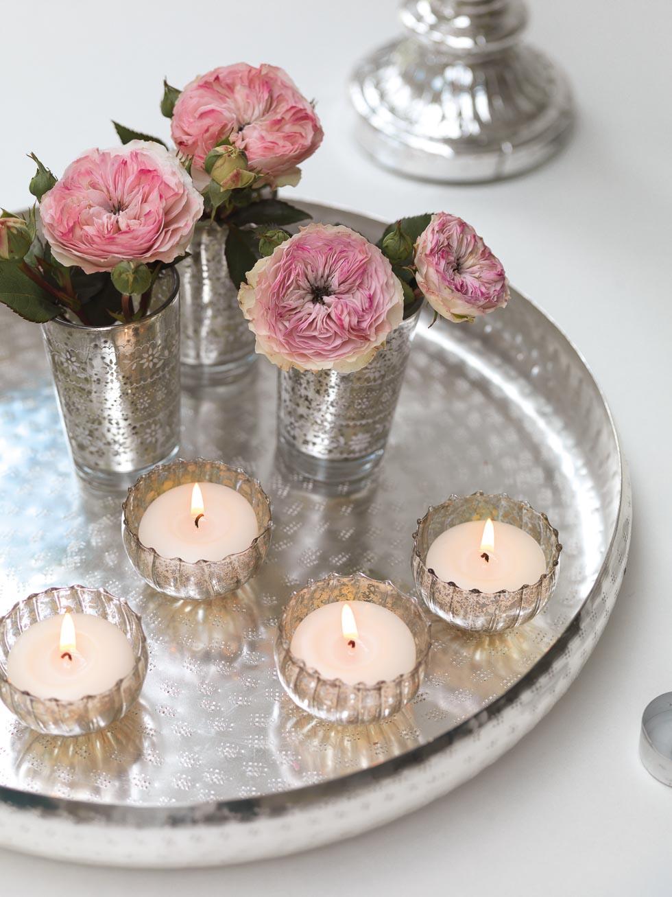 Tischdekoration Rosa und Silber