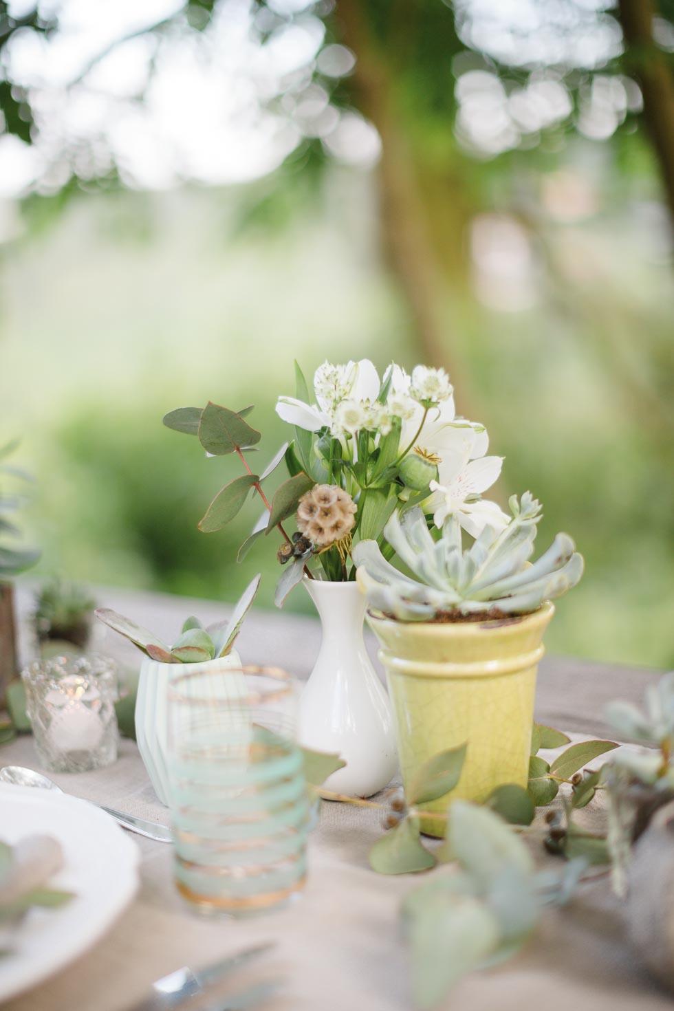 Tischdekoration Grün und Weiß