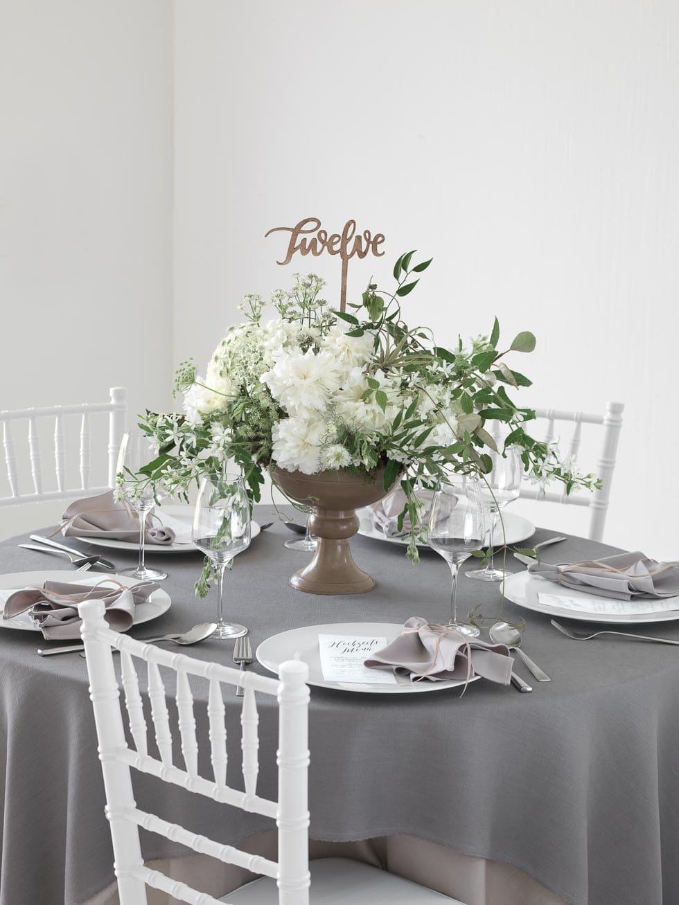 Tischdeko Hochzeit runder Tisch