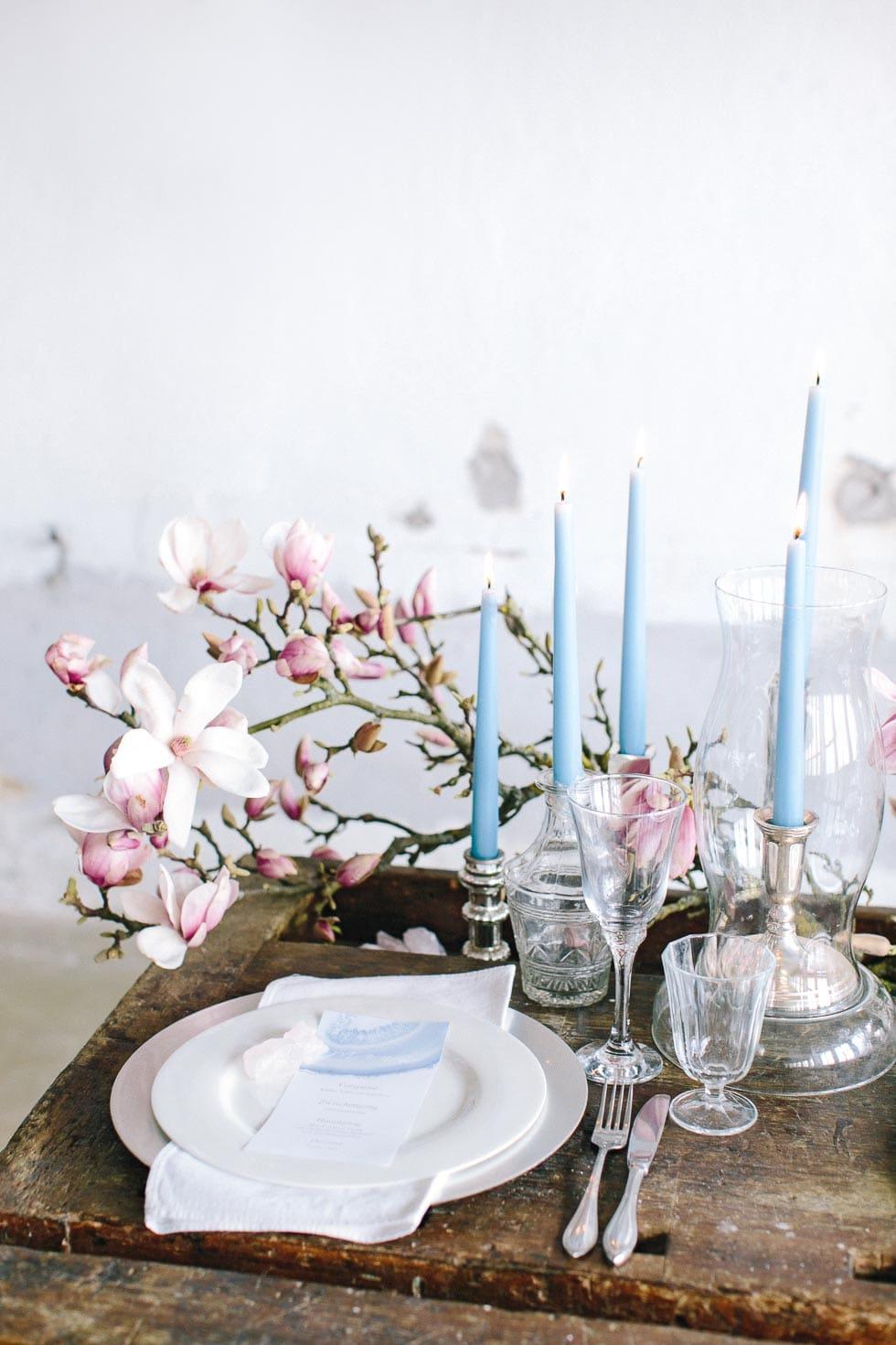 Tischdekoration Rosa und Blau