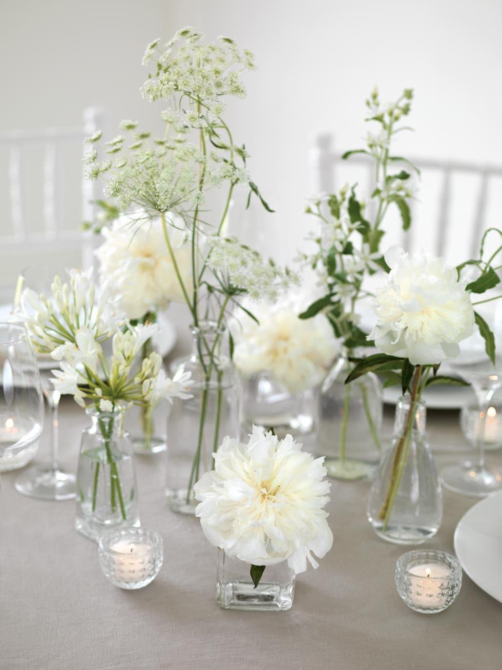Tischdeko Hochzeit weiß