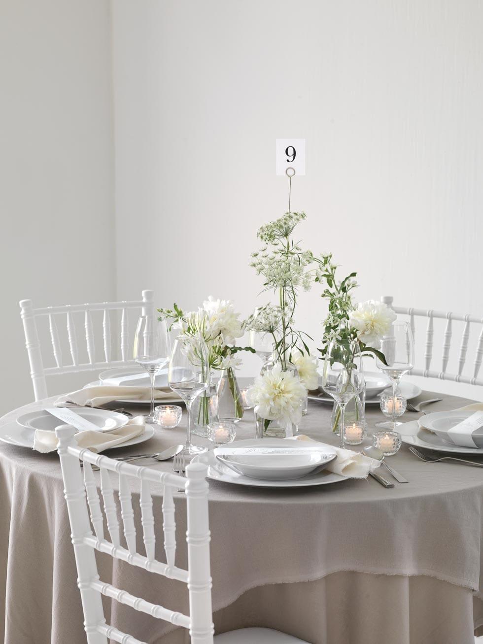 Tischdeko weiß taupe