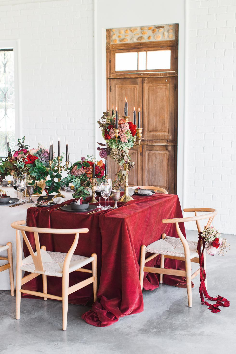 Tischdekoration Gold Rot Grun Und Schwarz