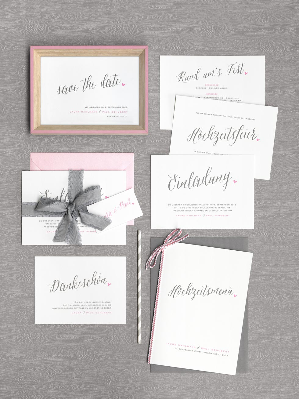 Papeterieserie Rosa und Grau