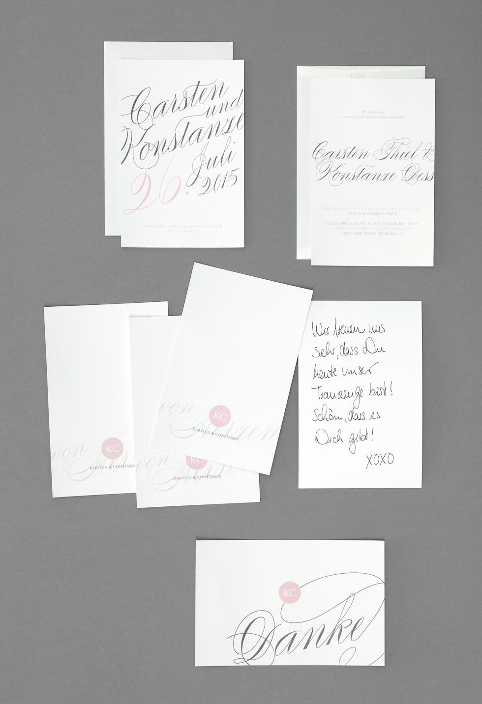 Papeterieserie Weiß, Rosa und Grau