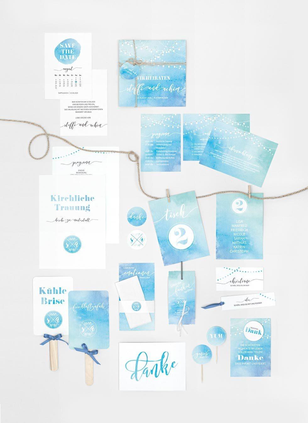 Papeterieserie Blau