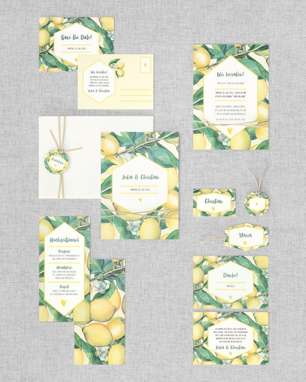 Papeterieserie Gelb und Grün