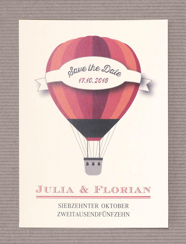 Save-the-Date Hochzeit Heißluftballon Rot – Hochzeit planen mit ...