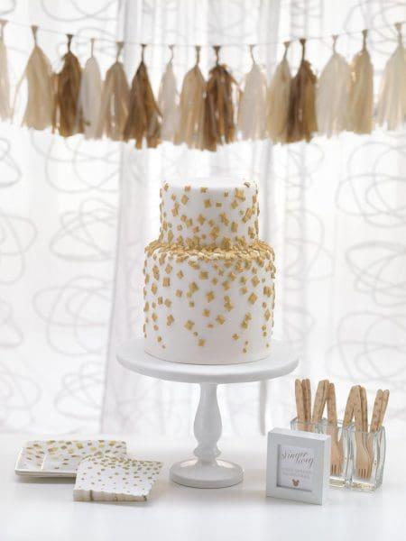 Hochzeitstorte gold Konfetti