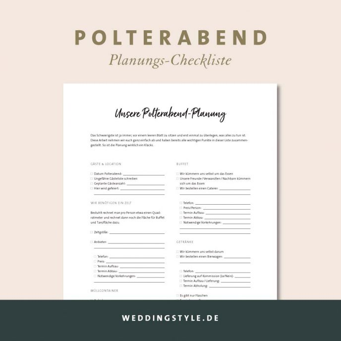 Checkliste Polterabend Planung