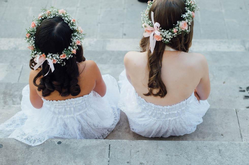 Haarkranz Blumenkinder mit rosafarbenen Blumen