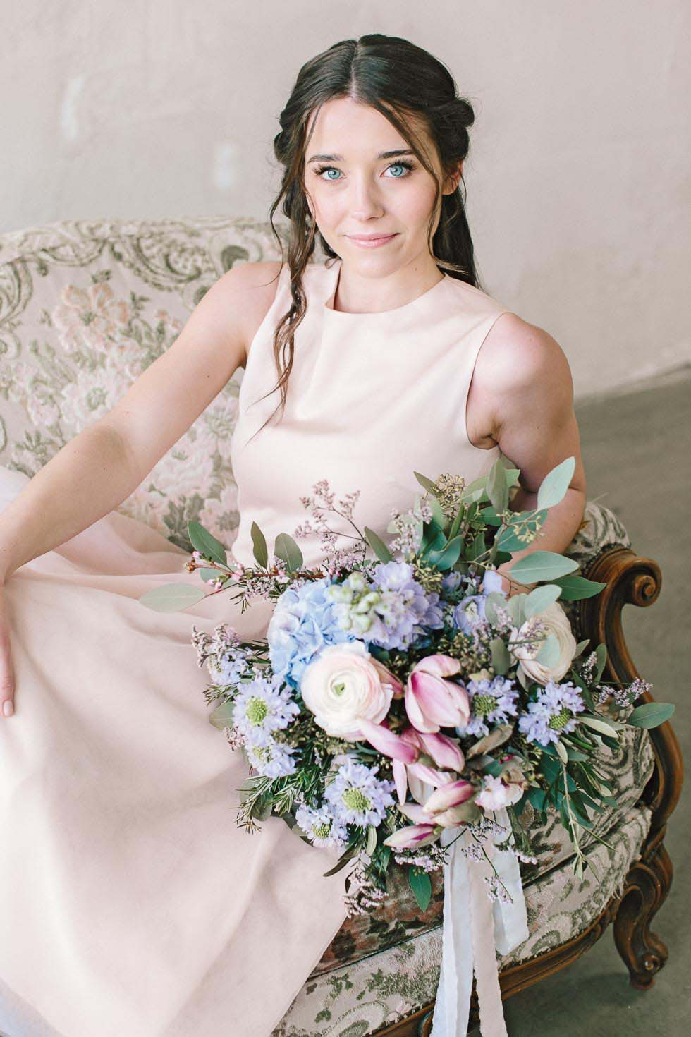 Brautstrauß Lila, Rosa und Blau