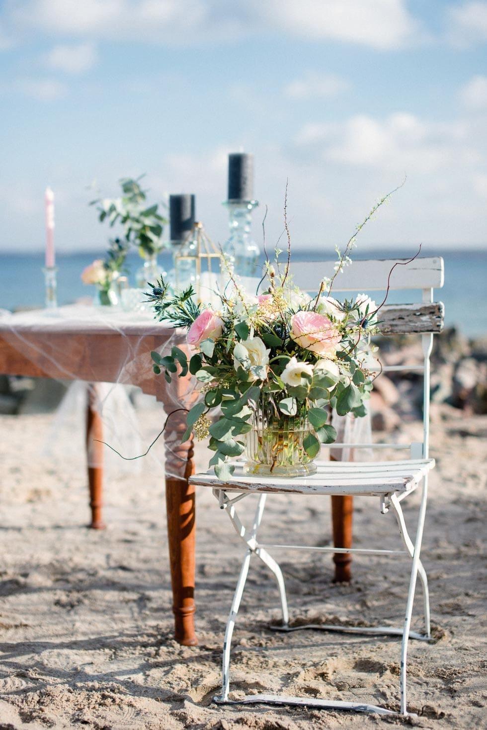 Brautstrauß grün, rosa und weiß