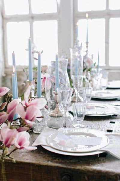 Tischdekoration Magnolien