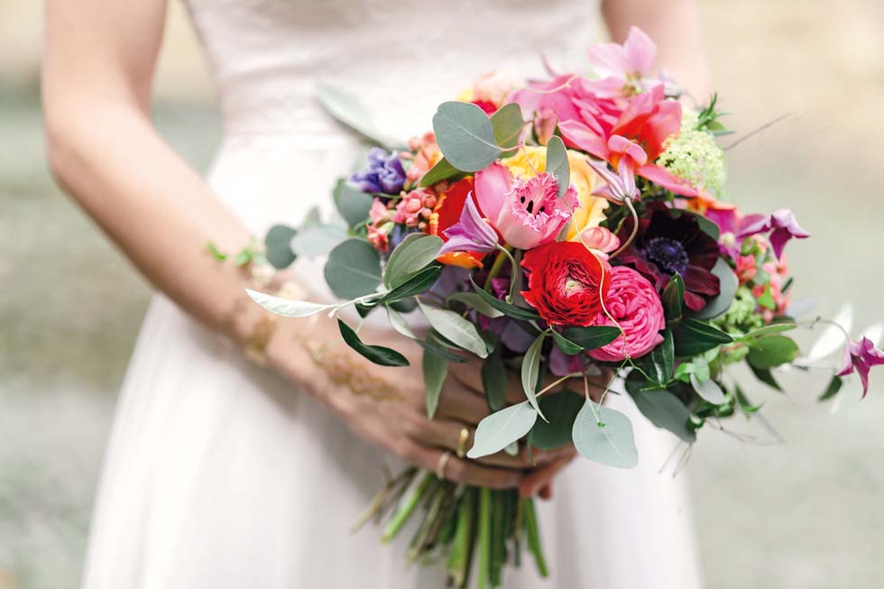 Brautstrauß Pink Lila Gelb