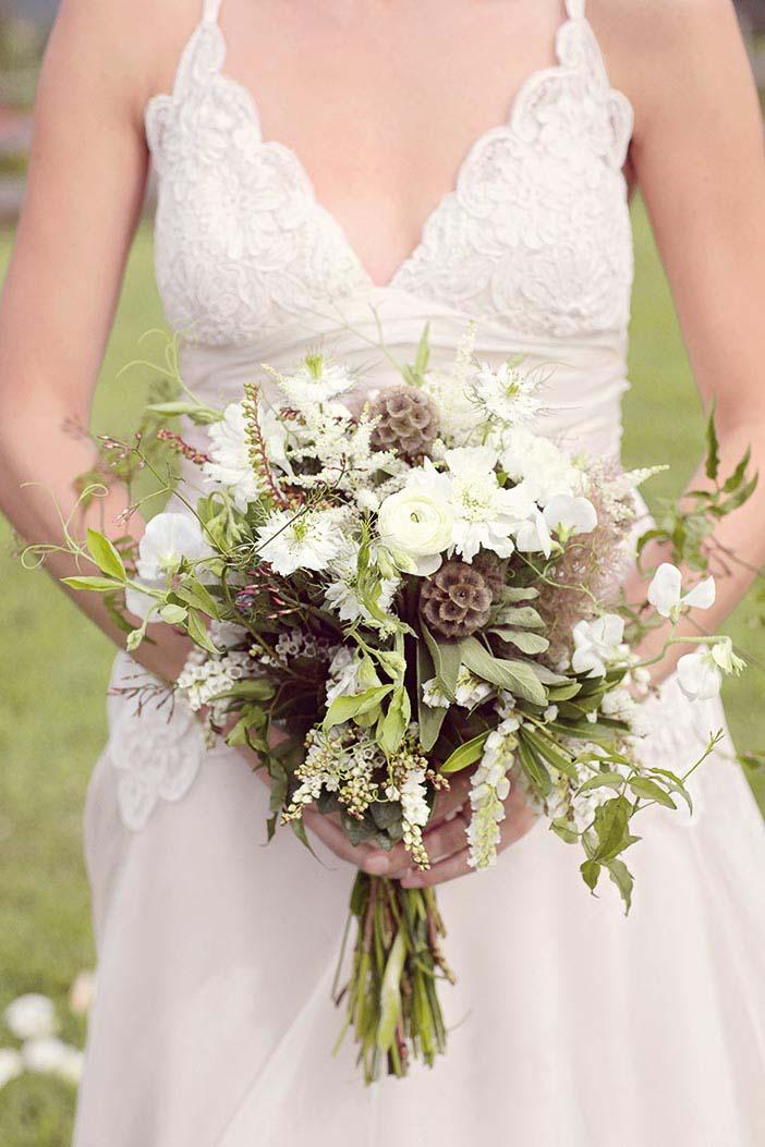 Brautstrauß Braun, Grün und Weiß