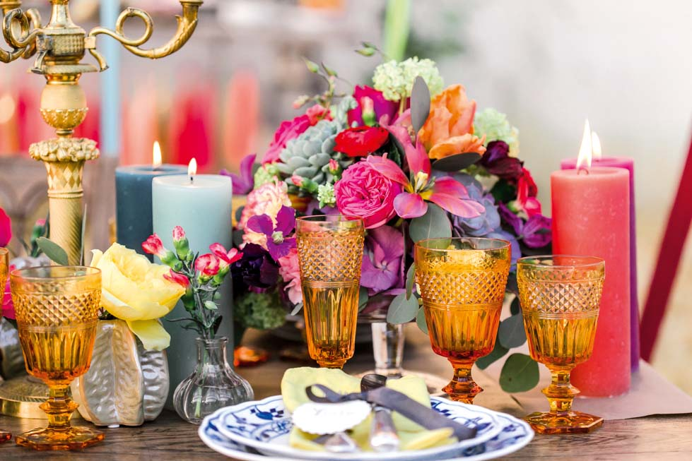 Tischdeko Hochzeitsdeko bunt
