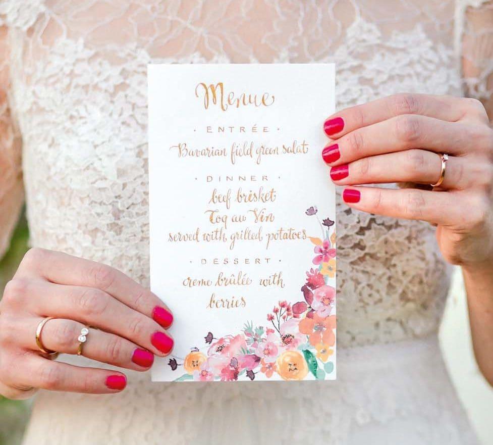 Hochzeitspapeterie Menükarte