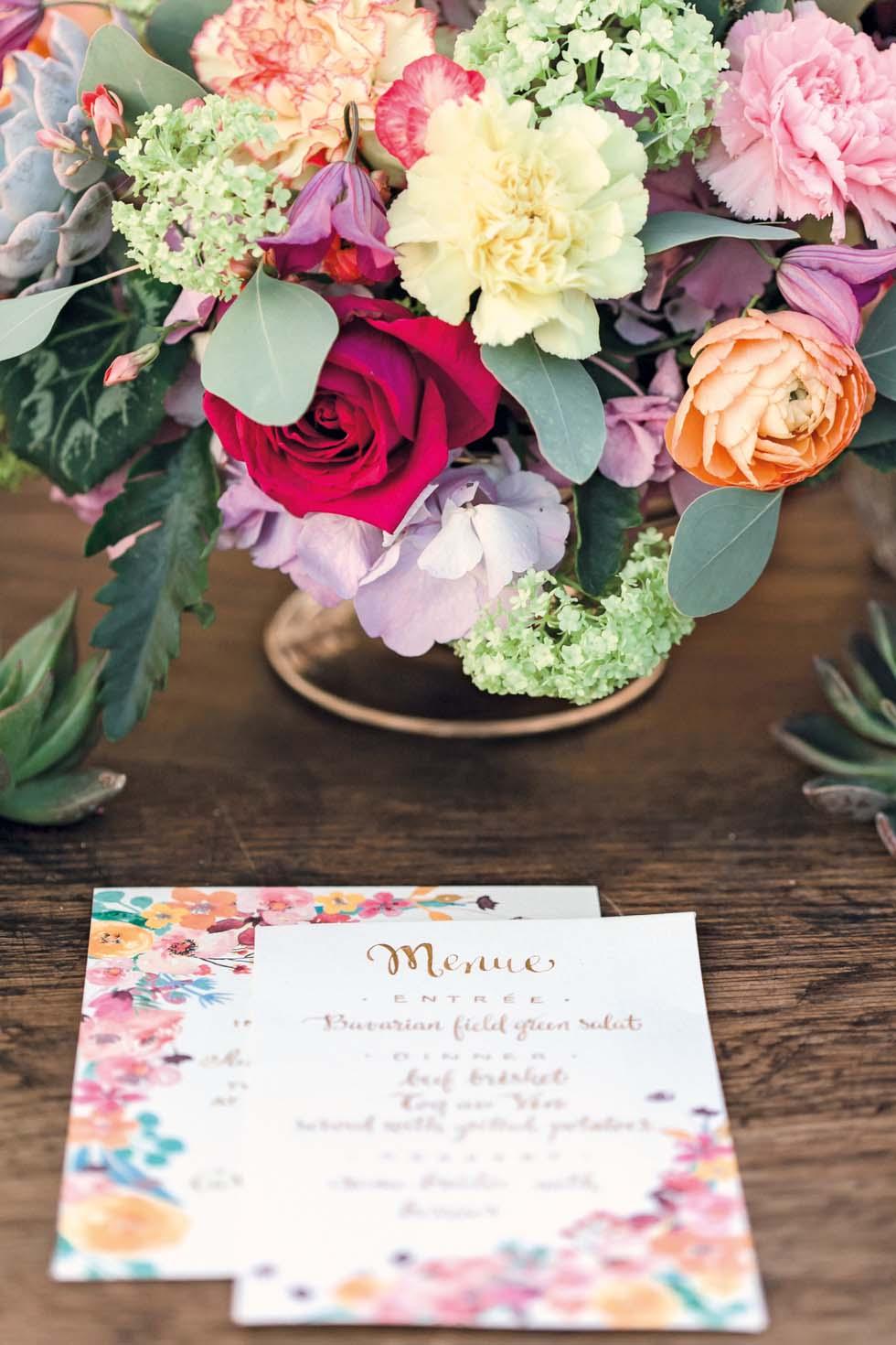 Tischdeko Menükarte Blumen