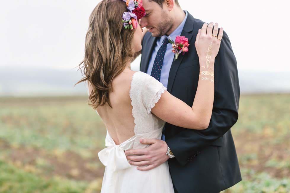 Hochzeitsfoto Brautpaar Natur