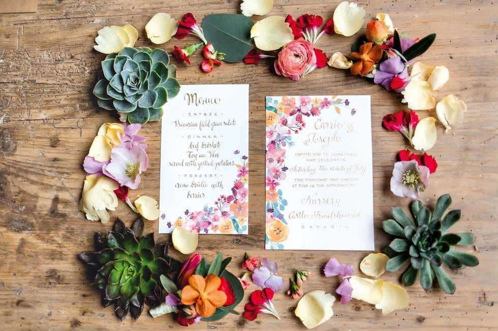 Hochzeitspapeterie Blumen bunt Boho